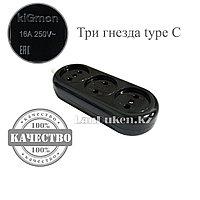 Колодка электрическая для удлинителя на 3 гнезда тип С 16A 250V~ EAC черная