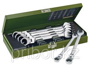 23124 Proxxon Набор комбинированных ключей с трещоткой и шарниром 6 шт. 10-19мм
