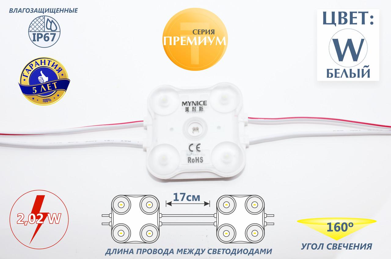 Четырехточечные светодиоды с линзой и алюминиевым теплоотводом (IP67) 2,02W, цвет - белый
