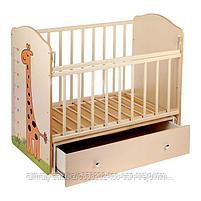 Детская кроватка ВДК Морозко без рисунка (с маятником, с ящиком), бежевый,береза-белый, фото 2