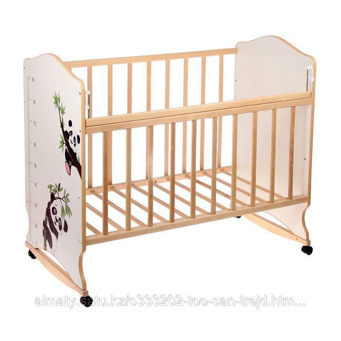 Детская кроватка ВДК Морозко (колесо качалка), цвет бежевый- берёза(без рисунка)