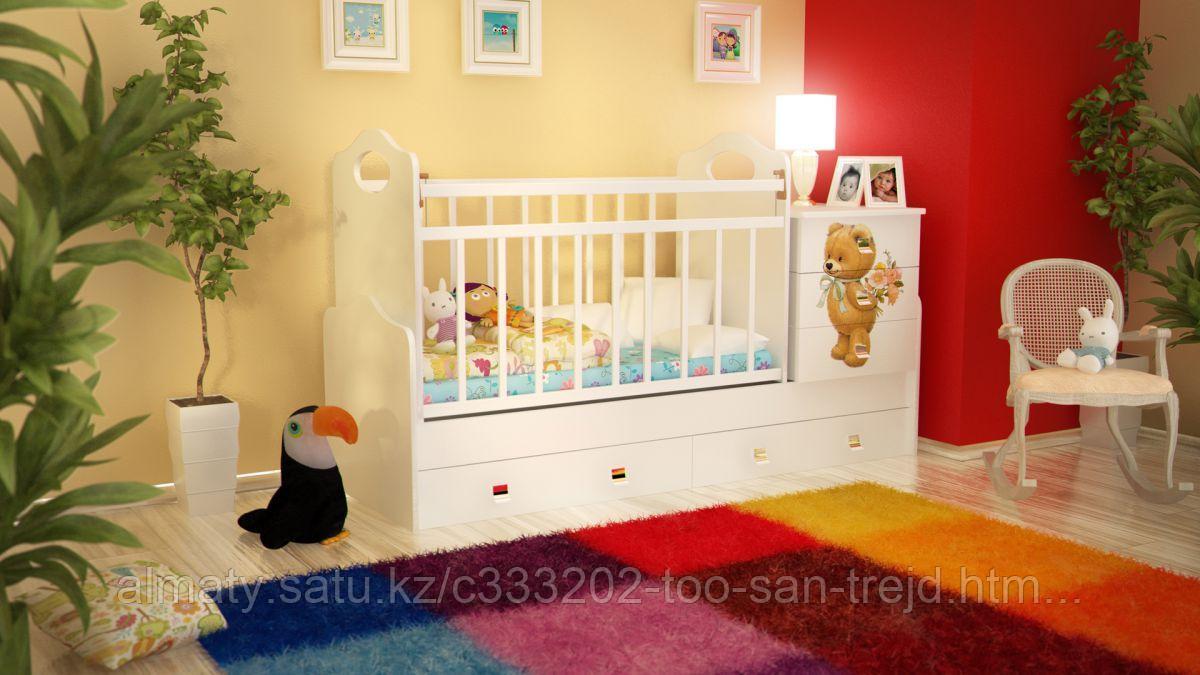 Детская кровать - трансформер ВДК Infanzia с МДВ (с пеленальным столом+2 ящ),цвет белый-беж,белый-венеге,белый
