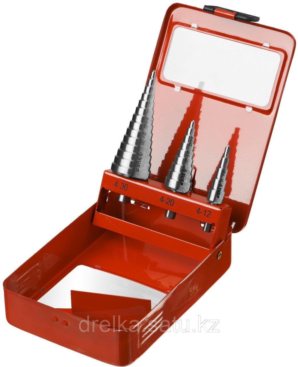 """Набор ЗУБР """"МАСТЕР"""": Ступенчатые сверла по сталям и цвет.мет., быстрорежущая сталь, d=4-12мм,5 ступ. d=4-20 м"""