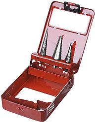 """Набор ЗУБР """"МАСТЕР"""": Ступенчатые сверла по сталям и цвет.мет., быстрорежущая сталь, d=3-14мм,12ступ. d=4-12 мм"""