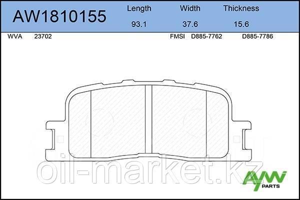 AYWIPARTS Колодки тормозные задние TOYOTA Camry(V30) 2.4-3.0 01>