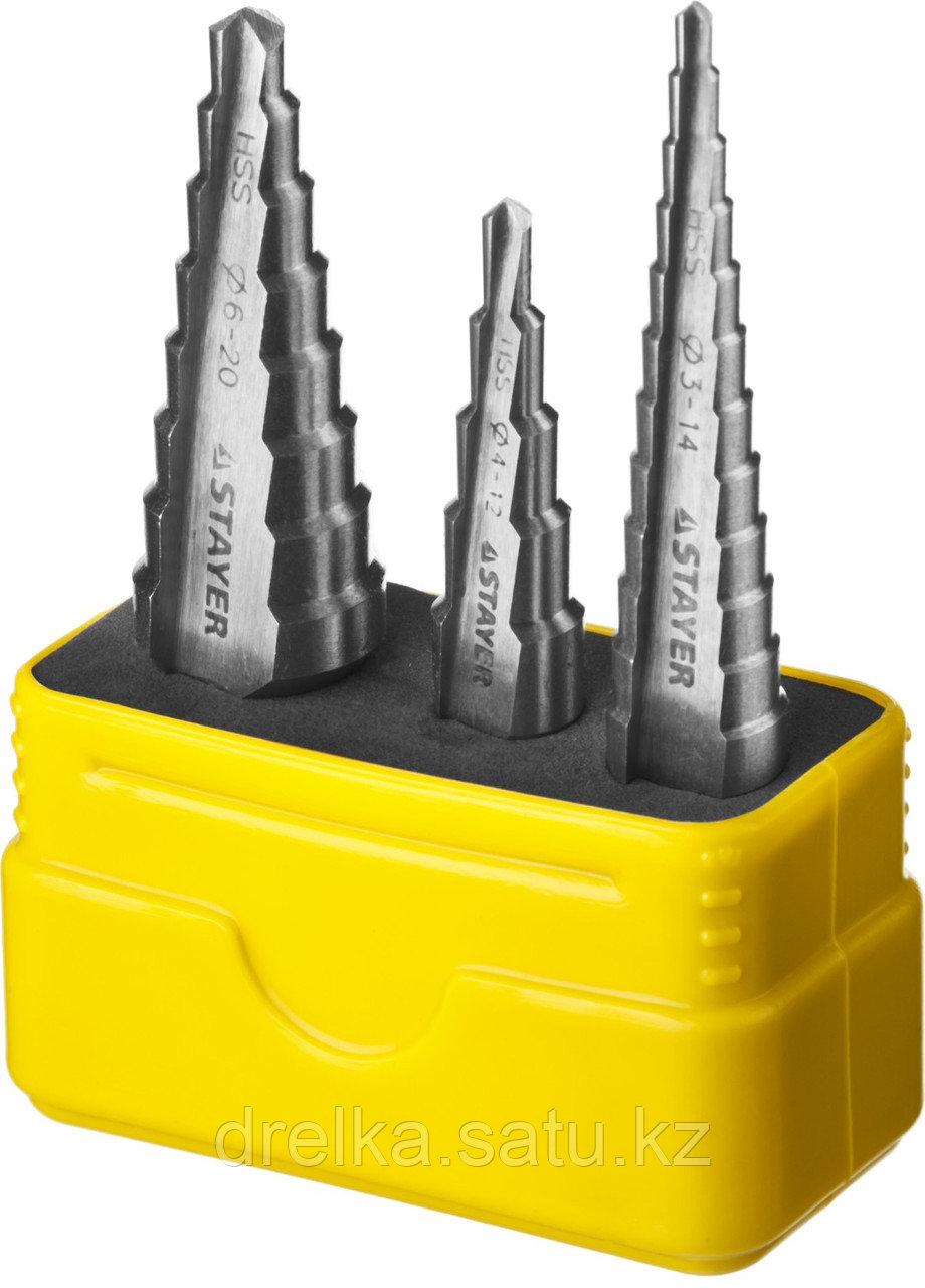 """Набор STAYER """"MASTER"""": Ступенчатые сверла по сталям и цвет.мет., сталь HSS, d=3-14мм,12ступ. d 4-12 мм 5 ступ."""