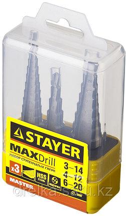 """Набор STAYER """"MASTER"""": Ступенчатые сверла по сталям и цвет.мет., сталь HSS, d=3-14мм,12ступ. d 4-12 мм 5 ступ., фото 2"""