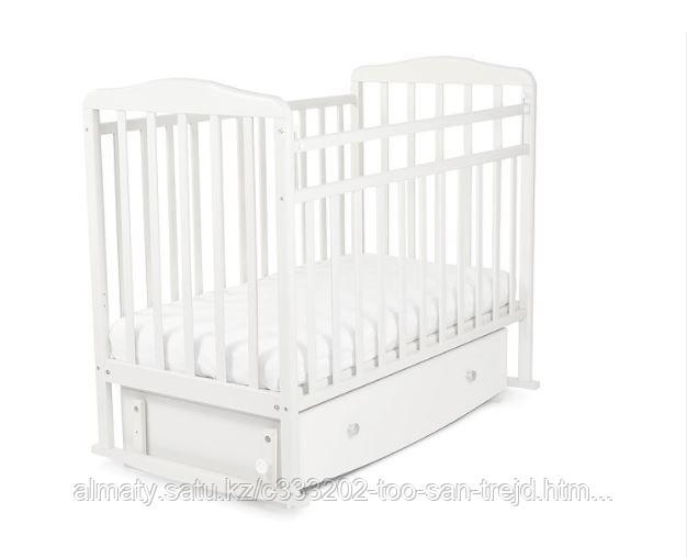 Кровать детская Митенька New с ящиком ,цвет белый