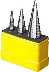 """Набор STAYER """"MASTER"""": Ступенчатые сверла по сталям и цвет.мет., сталь HSS, d=4-12мм,5 ступ. d 4-20 мм 9 ступ."""