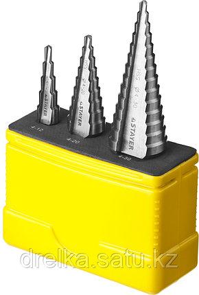 """Набор STAYER """"MASTER"""": Ступенчатые сверла по сталям и цвет.мет., сталь HSS, d=4-12мм,5 ступ. d 4-20 мм 9 ступ., фото 2"""