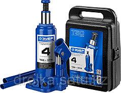 Домкрат гидравлический бутылочный T50, 4т, 192-374мм, в кейсе, ЗУБР Профессионал