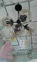 Люстра лофт молекула 5 рожковая, черная, фото 1