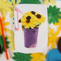 Набор для создания букета 'Первые цветы', в горшочке из фетра, с иглой, меховые палочки