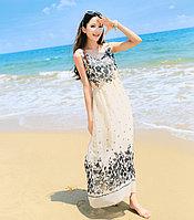 Женское лёгкое платье. Бежевый с цветочками, фото 1
