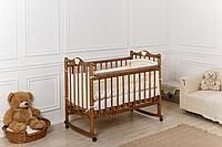 Кровать детская Incanto Pali с мишкой колесо-качалка (цвет орех)