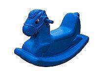 Детские качели-качалка в виде лошадки (голубые)