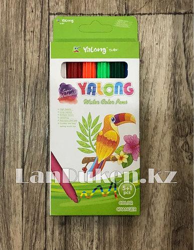 Набор цветных фломастеров Yalong YL18012-5+1 (6 цветов)