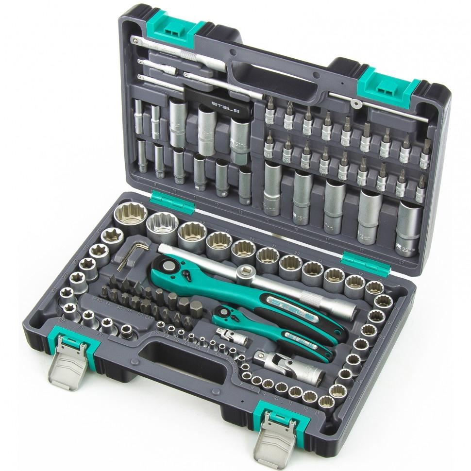 Набор инструментов в пластиковом кейсе 109 предметов 12-гранные головки Stels
