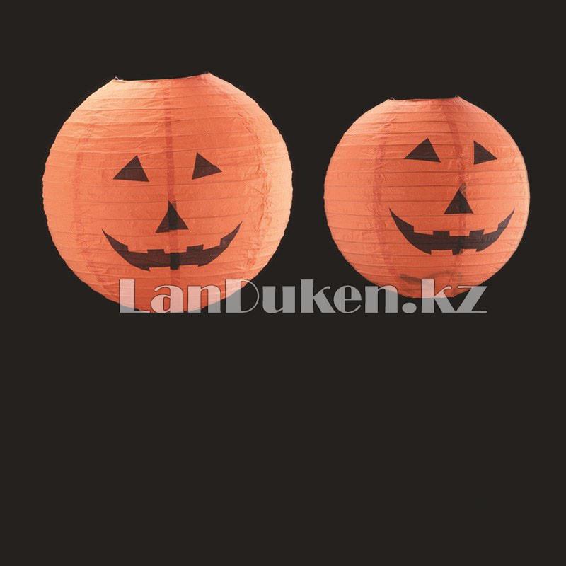 Бумажный подвесной фонарь на Хэллоуин в виде тыквы складной (маленький 20 см) - фото 5