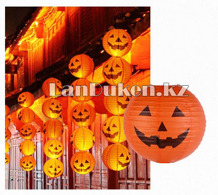 Бумажный подвесной фонарь на Хэллоуин в виде тыквы складной (маленький 20 см) - фото 8