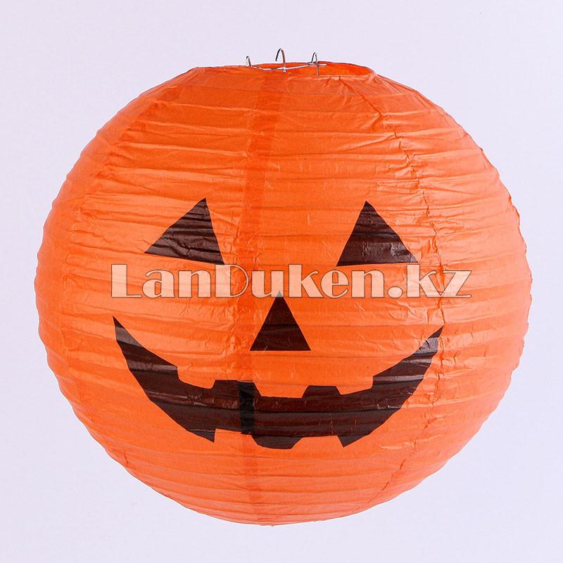 Бумажный подвесной фонарь на Хэллоуин в виде тыквы складной (маленький 20 см) - фото 2