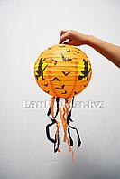 Бумажный подвесной фонарь на Хэллоуин шарообразный с ведьмой и летучими мышами складной (средний 25 см)