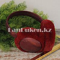 Меховые наушники с переливающейся тканью 18815-6 темно-красные (бордовые)