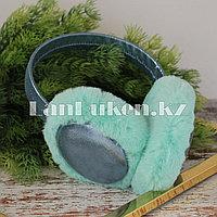 Меховые наушники с переливающейся тканью 18815-6 бирюзовые