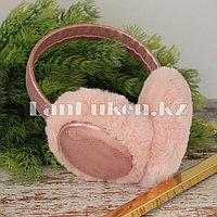 Меховые наушники с переливающейся тканью 18815-6 светло-розовые
