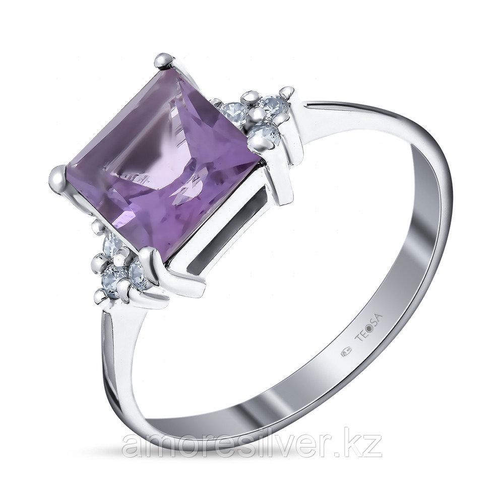 """Кольцо Teosa серебро с родием, аметист фианит, """"каратник"""" 0740-R-AM"""