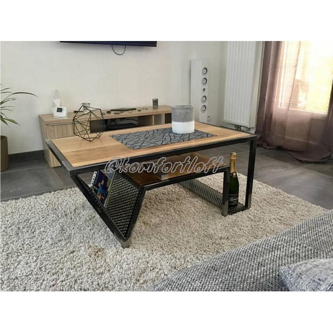 Журнальный стол на металлическом основании (Лофт)