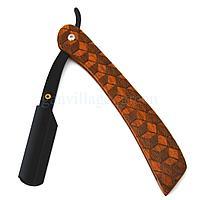 Опасная бритва  - шаветта с деревянными узорами на ручке