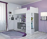 Кровать чердак Polini Simple с рабочей зоной и шкафом, белый/серый