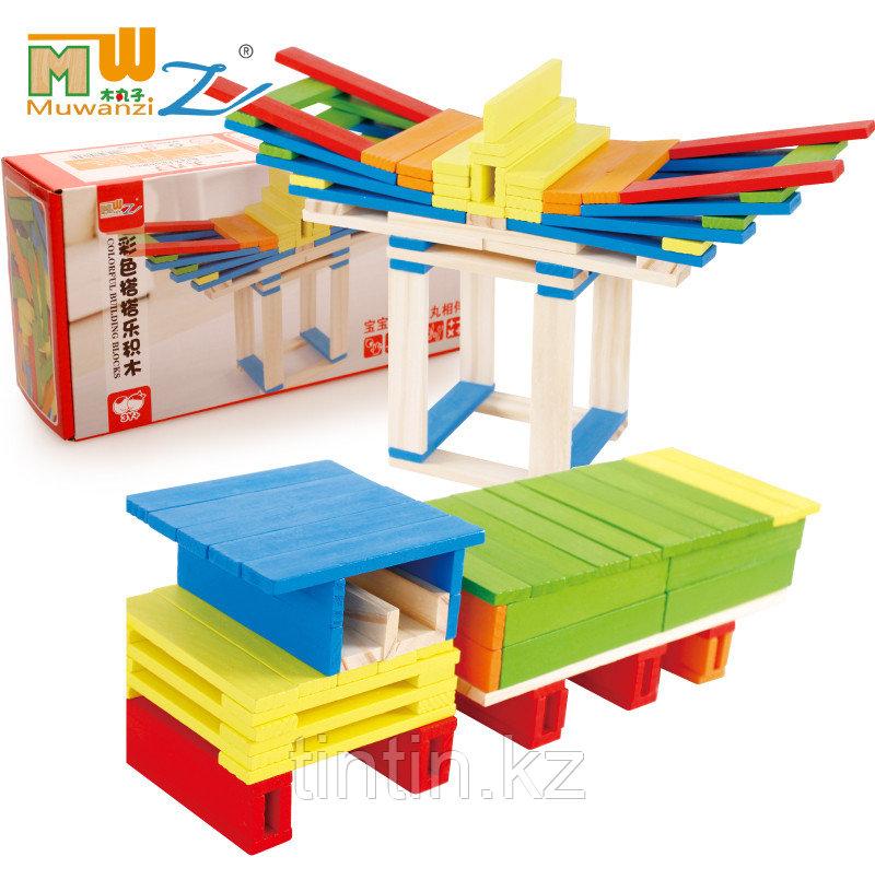 Деревянный конструктор- Цветные брусочки, 102 деталей