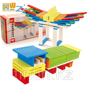 Деревянный конструктор - Цветные брусочки, 102 деталей
