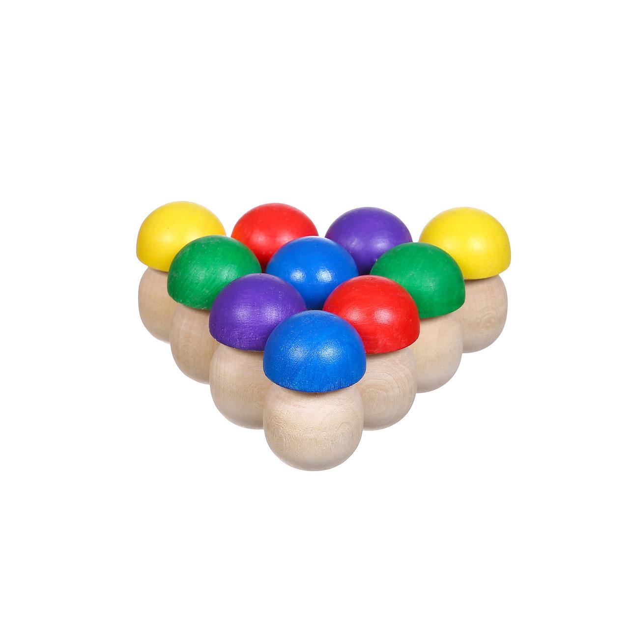 """Игрушка деревянная Счётный материал """"Грибочки"""", 10 шт"""