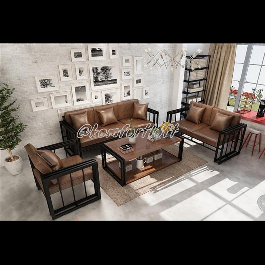 Комплект мягкой мебели Лофт (2 дивана, кресло, стол), фото 2