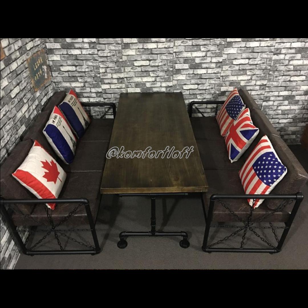 Комплект мебели для кафе Лофт (2 дивана, кресло, стол)