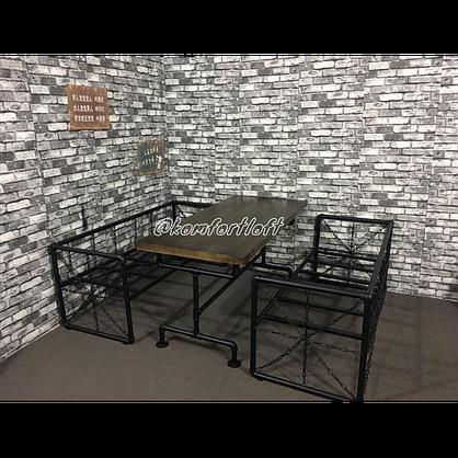 Комплект мебели для кафе Лофт (2 дивана, кресло, стол), фото 2