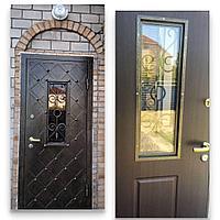 Дверь стальная уличная сундук со стеклопакетом и ковкой