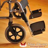 Надежная инвалидная коляска с сиденьем 61 см и удобной единой ручкой Мега Оптим FS 874 B-51, фото 4