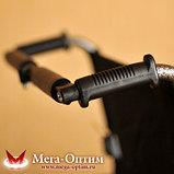 Надежная инвалидная коляска с сиденьем 61 см и удобной единой ручкой Мега Оптим FS 874 B-51, фото 2