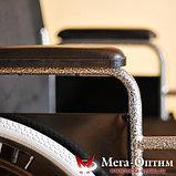 Надежная инвалидная коляска с сиденьем 61 см и удобной единой ручкой Мега Оптим FS 874 B-51, фото 6