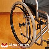 Надежная инвалидная коляска с сиденьем 61 см и удобной единой ручкой Мега Оптим FS 874 B-51, фото 3