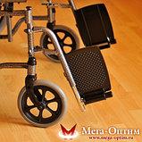 Надежная инвалидная коляска с сиденьем 61 см и удобной единой ручкой Мега Оптим FS 874 B-51, фото 10