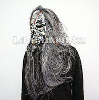 Латексная маска на хэллоуин череп с кровавыми трещинами (седые волосы) 090