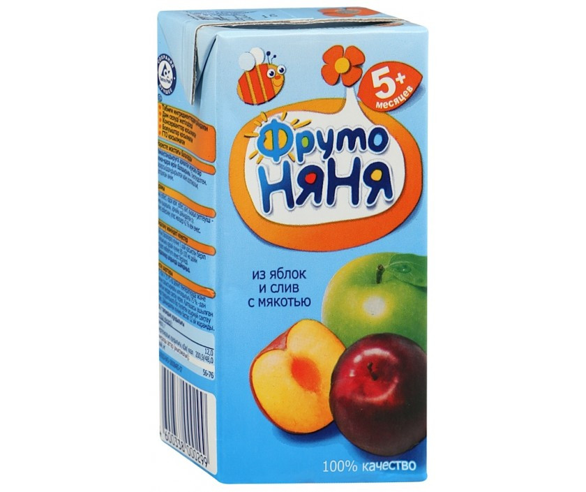 """Нектар """"Фруто Няня"""" яблочно-сливовый с мякотью  с 5 мес 200 мл"""