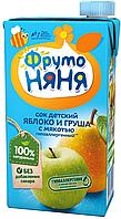 """Сок """"Фруто Няня"""" яблочно-грушевый с мякотью  для детского питания 500мл"""