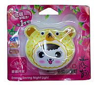 """LED ночник в розетку """"Мишка"""", желтый"""