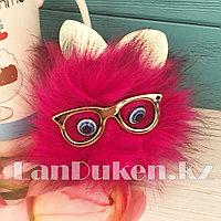 """Помпон меховой """"Пушистик"""" с ушками глазами и очками темно-розовый"""